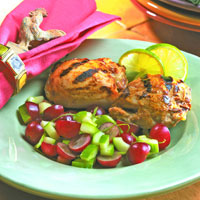 Grilled Honey Mustard Chicken Thighs with Grape and Lime Salsa: Main Image