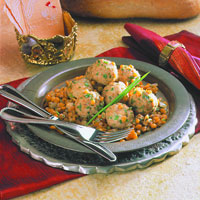 Spiced Chicken Meatballs in Split Pea Pilaf: Main Image