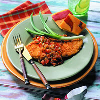 Tortilla Crusted Chicken Paillard with Sacaton Relish: Main Image