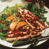 Cranberry Crusted Rainbow Trout with Warm Orange Vinaigrette: Main Image
