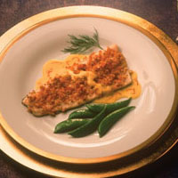 Rainbow Trout with Horseradish Crust and Saffron Sauce: Main Image