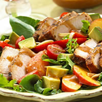 master.k.m.us.NPB BBQ Pork Salad with Summer Fruits and Honey Balsamic Vinaigrette Healthy Eating