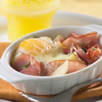 Baked Egg with Canadian Bacon, Tomato, and Potatoes: Main Image