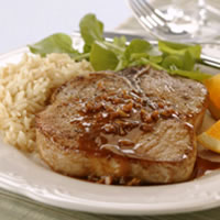 Braised Pork Chops with Orange-Mustard Sauce: Main Image