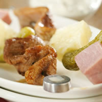 Cubano Pork Appetizer Skewers and Cilantro-Citrus Dip: Main Image