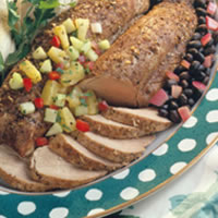 Jerk Pork Tenderloin with Black Beans and Pineapple & Cucumber Salsa: Main Image
