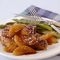 Pan-Seared Chops with Pear and Soy-Ginger Glaze: Main Image