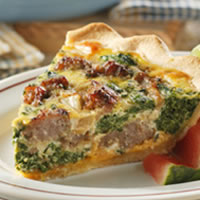 Sausage-Spinach Quiche: Main Image