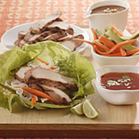 Thai Lettuce Wraps with Satay Pork Strips: Main Image