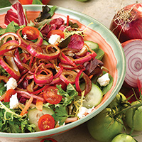 Garden Salad with Balsamic-Marinated Onions: Main Image