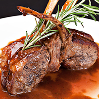 Oven Roasted Lamb Rib Chops with Rosemary Apple Dressing: Main Image