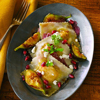 Butternut Squash Ravioli with Peppered-Pomegranate Sauce: Main Image