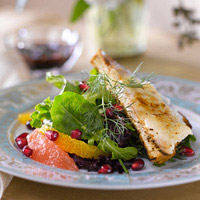 Goat Cheese Br�l�e, Petite Greens, and Pomegranate-Orange Vinaigrette: Main Image