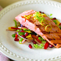 Grilled Salmon Salad with Pomegranate Seeds and Pomegranate-Walnut Vinaigrette: Main Image
