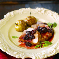 Pomegranate Cherry Chutney over Wood-Grilled Pork Tenderloin: Main Image