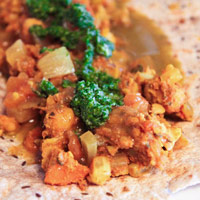 "Vegetarian ""Dosas"" with Curried Chickpeas and Mint Chutney: Main Image"