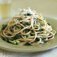 Whole Wheat Linguine with Arugula and Edamame: Main Image
