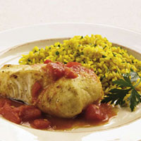 Halibut in Cider and Saffron Rice: Main Image
