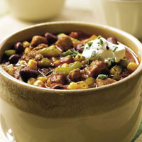 Mexican Pork and Bean Chili and Shredded Lettuce Salad: Main Image