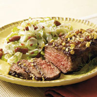 Walnut-Crusted Steak and Fennel Bean Salad: Main Image