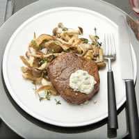Beef Tenderloin Steaks with Blue Cheese Topping: Main Image