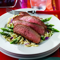 Grilled Peppery Top Round Steak with Parmesan Asparagus: Main Image