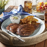 Grilled Ribeye Steaks and Potatoes with Smoky Paprika Rub: Main Image
