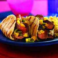 Grilled Steak Tacos with Poblano-Mango Salsa: Main Image