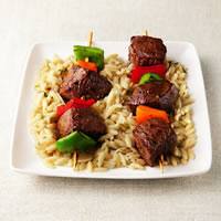 Sizzling Sirloin Kabobs on a Bed of Orzo: Main Image