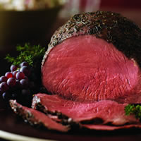 Thyme-Rubbed Beef Round Tip with Roasted Onion and Pear Wild Rice: Main Image