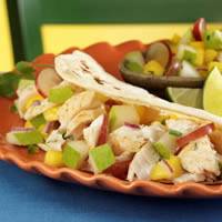 Spicy Fish Tacos with Pear Mango Salsa: Main Image