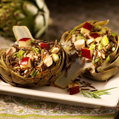 Artichokes Stuffed with Chicken and Wild Rice: Main Image