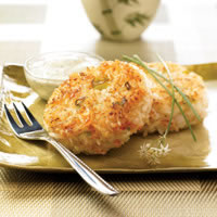Shrimp and Rice Patties with Creamy Cilantro Sauce: Main Image