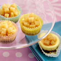Mini Ch�vre Cheesecakes with Pears in Lavender Honey: Main Image