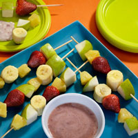 Pear Kabobs with Strawberry Dipping Sauce: Main Image