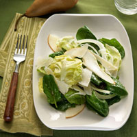 Pear and Spinach Salad with Parmesan Vinaigrette: Main Image