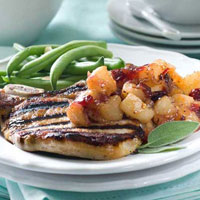 Brined Pork Chops with Spicy Pear Chutney: Main Image