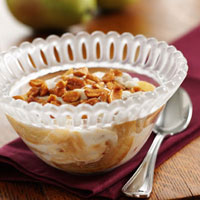 Sauteed Pears with Vanilla Yogurt and Honey Peanuts: Main Image
