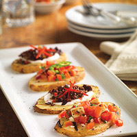 Festive Papas Tapas with Bruschetta: Main Image