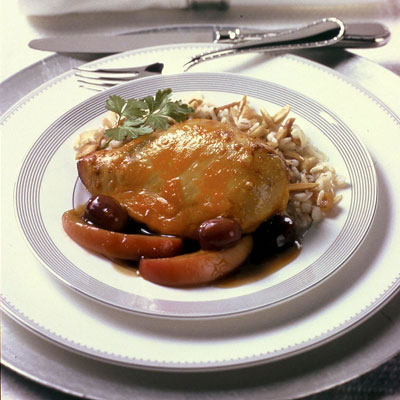Cheddar-Crusted Chicken Breasts with Grapes and Apples in Grand Marnier Sauce