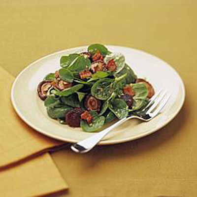 Spinach Salad with Candied Shiitake Mushrooms