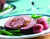 Caramelized American Lamb Roast with Apricot and Cranberry Stuffing