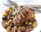 Grilled Lamb Chops with Marinated Potatoes