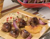 Grilled Peach and Lamb Kabobs