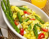 Fresh Asparagus Scramble with Herbed Cream Cheese & Tomatoes