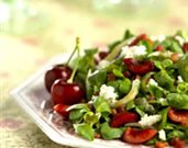 Mache Salad with Bing Cherries and Pancetta