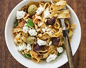 Pasta with Kalamata Olives, Feta, and Pine Nuts