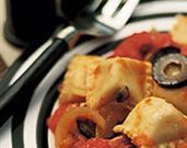 Ravioli with Fire-Roasted Tomatoes and Olives