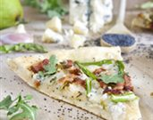 Arugula, Pear, and Bacon Pizza with Honey Poppy Seed Sauce