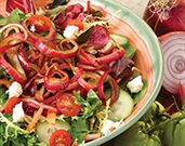 Garden Salad with Balsamic-Marinated Onions